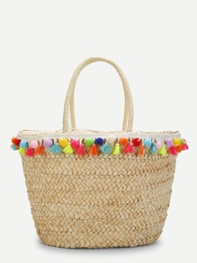 Tassel & Pom Pom Detail Straw Bucket Bag