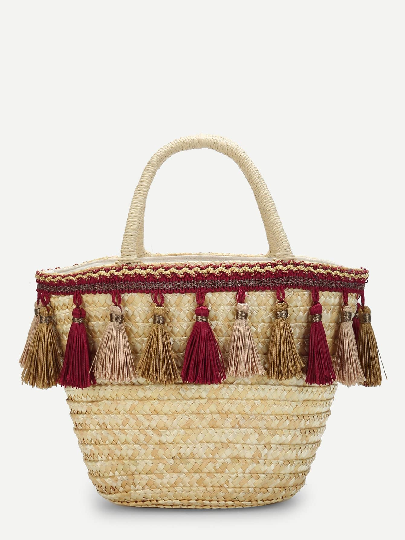 Tassel Detail Straw Bucket Bag flounce trim straw bucket bag