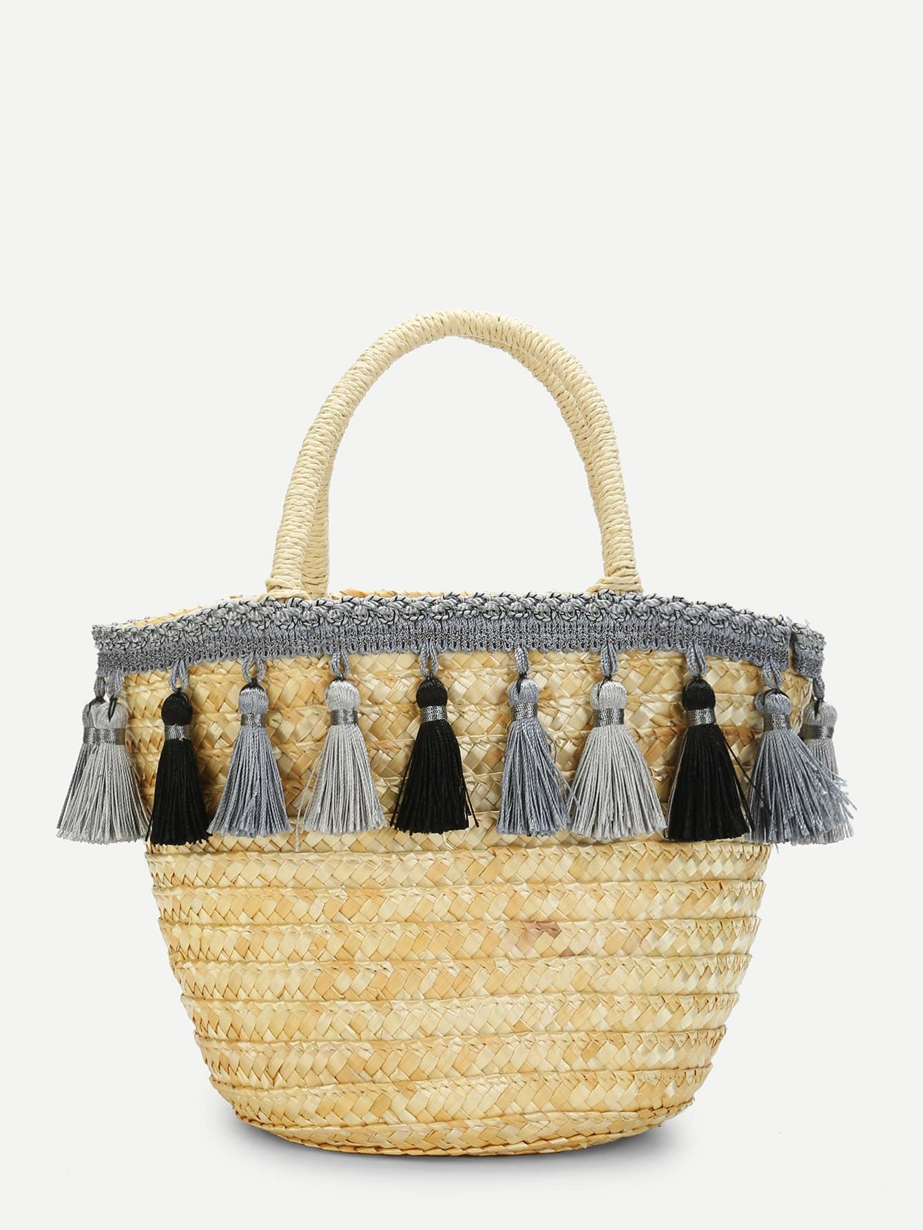 Tassel Detail Straw Bucket Bag tassel detail straw crossbody bag