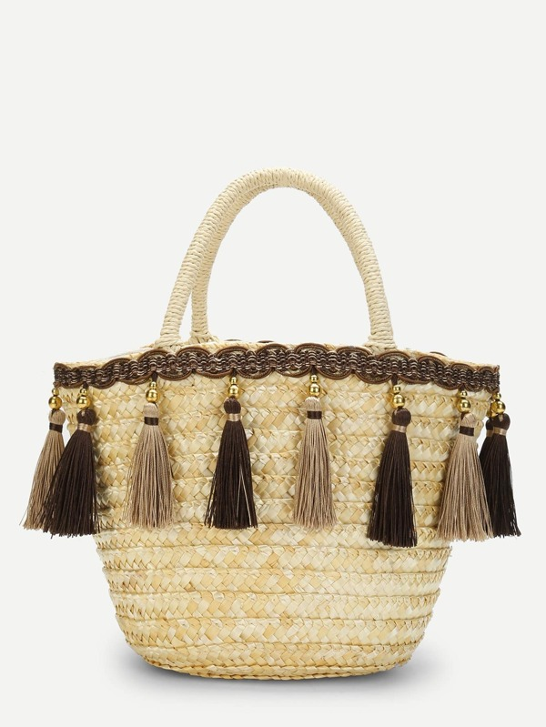 Tassel Detail Straw Bucket Bag by Sheinside