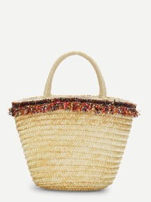 Paper Tassel Detail Straw Bucket Bag