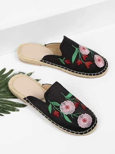 Floral Embroidered Non Slip Bottom Espadrille Flats