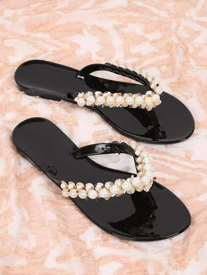Faux Pearl Decor Filp-flops
