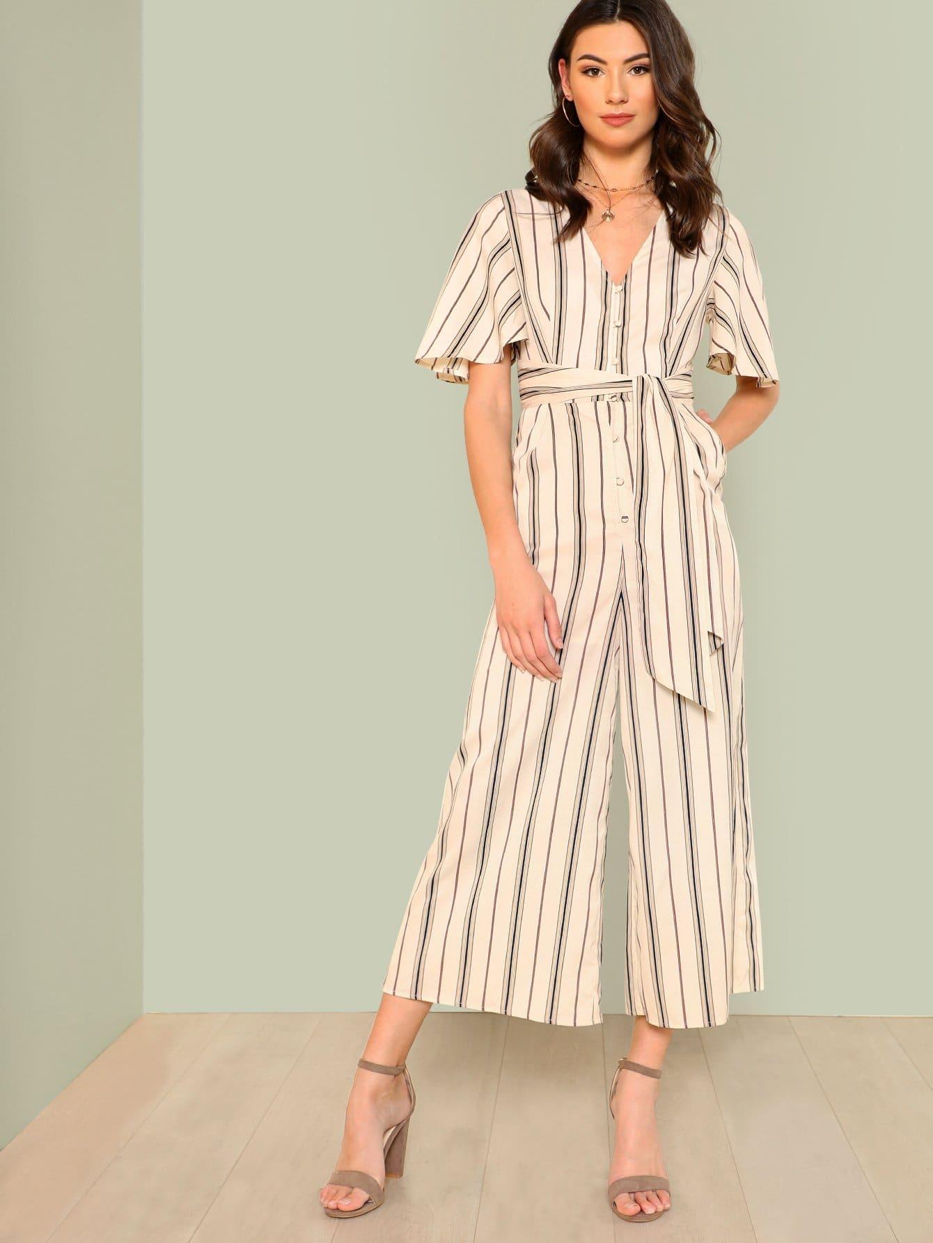 Flutter Sleeve Tie Waist Wide Leg Jumpsuit flutter sleeve twist front top and wide waist shorts set