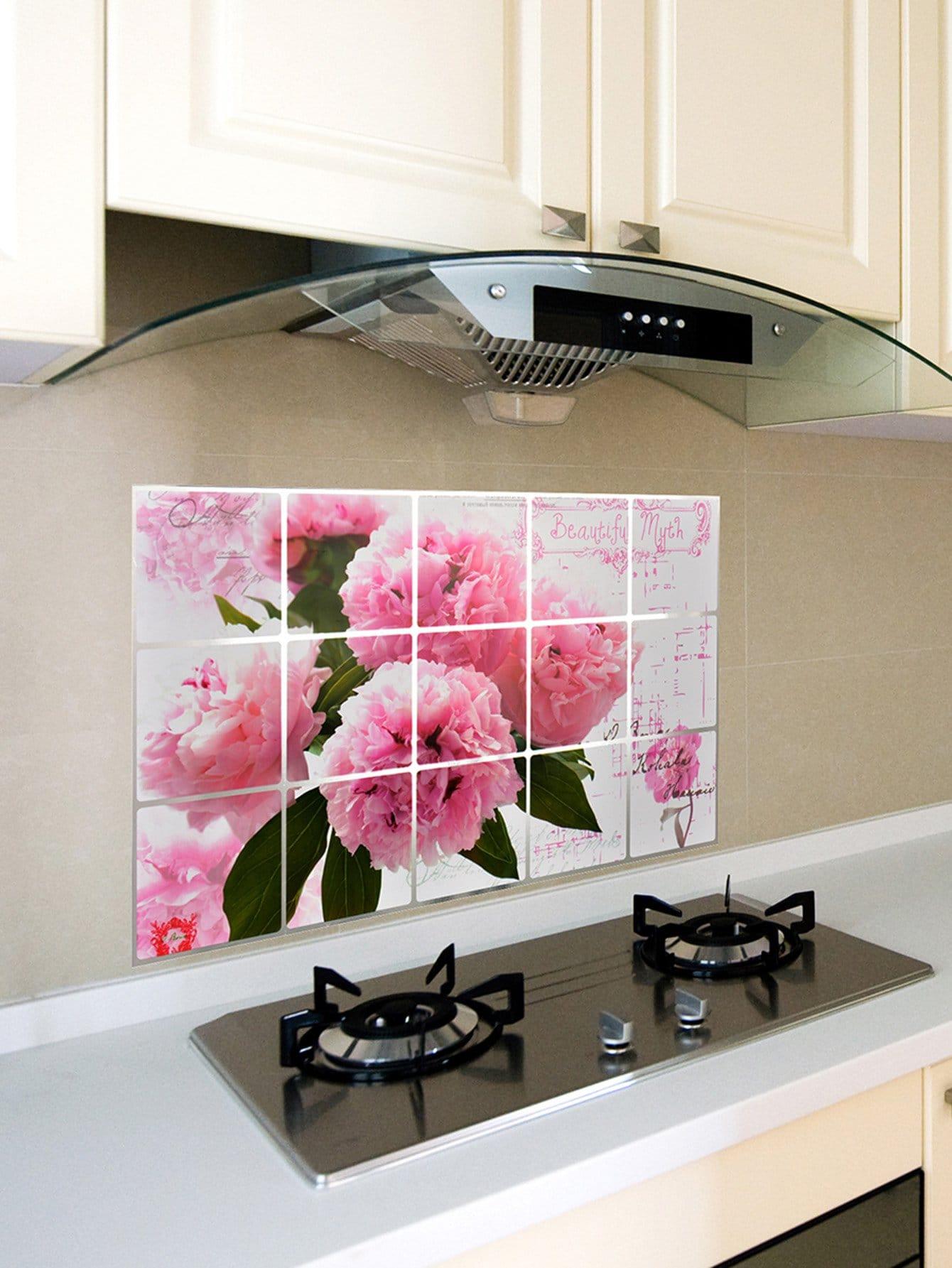 Flower Pattern Oil Proof Sticker