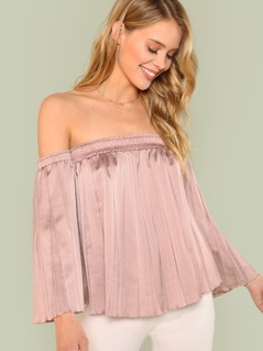 Off Shoulder Bell Sleeve Pleated Blouse
