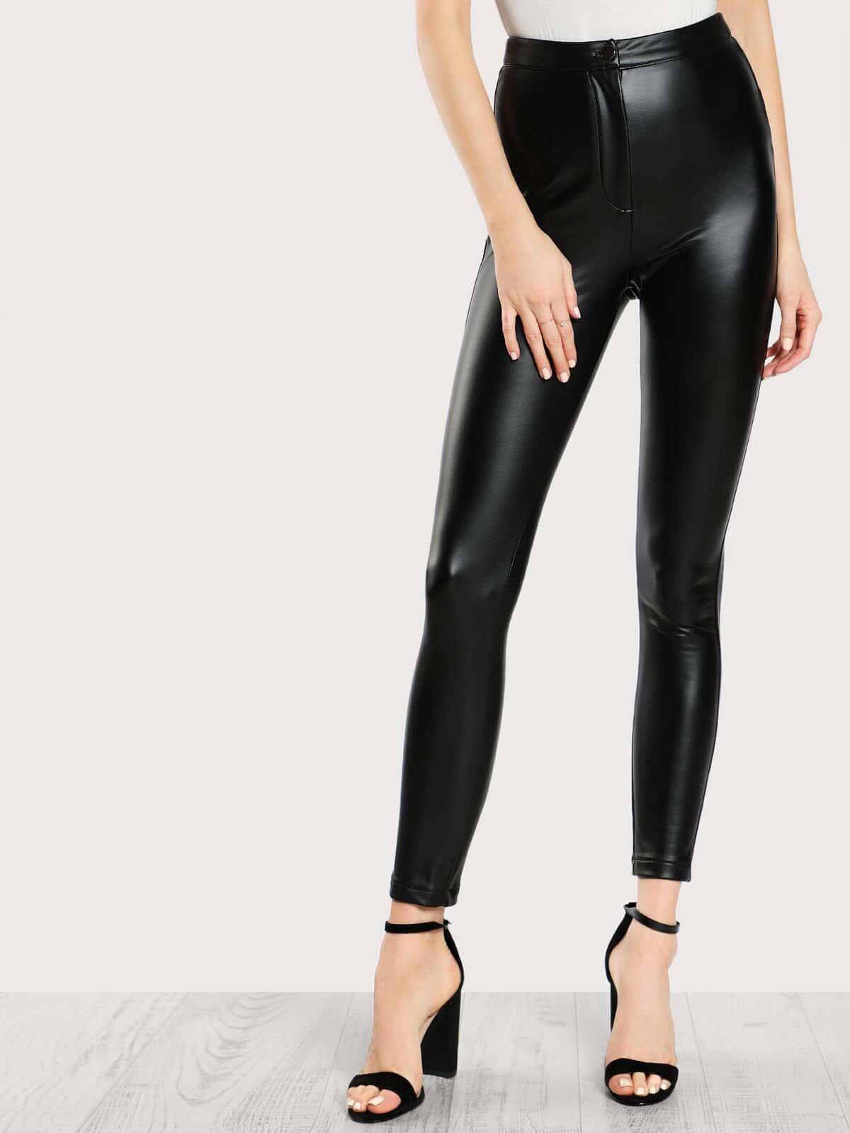 High Rise Coated Skinny Pants