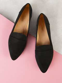 Faux Suede Pointy Toe Flat