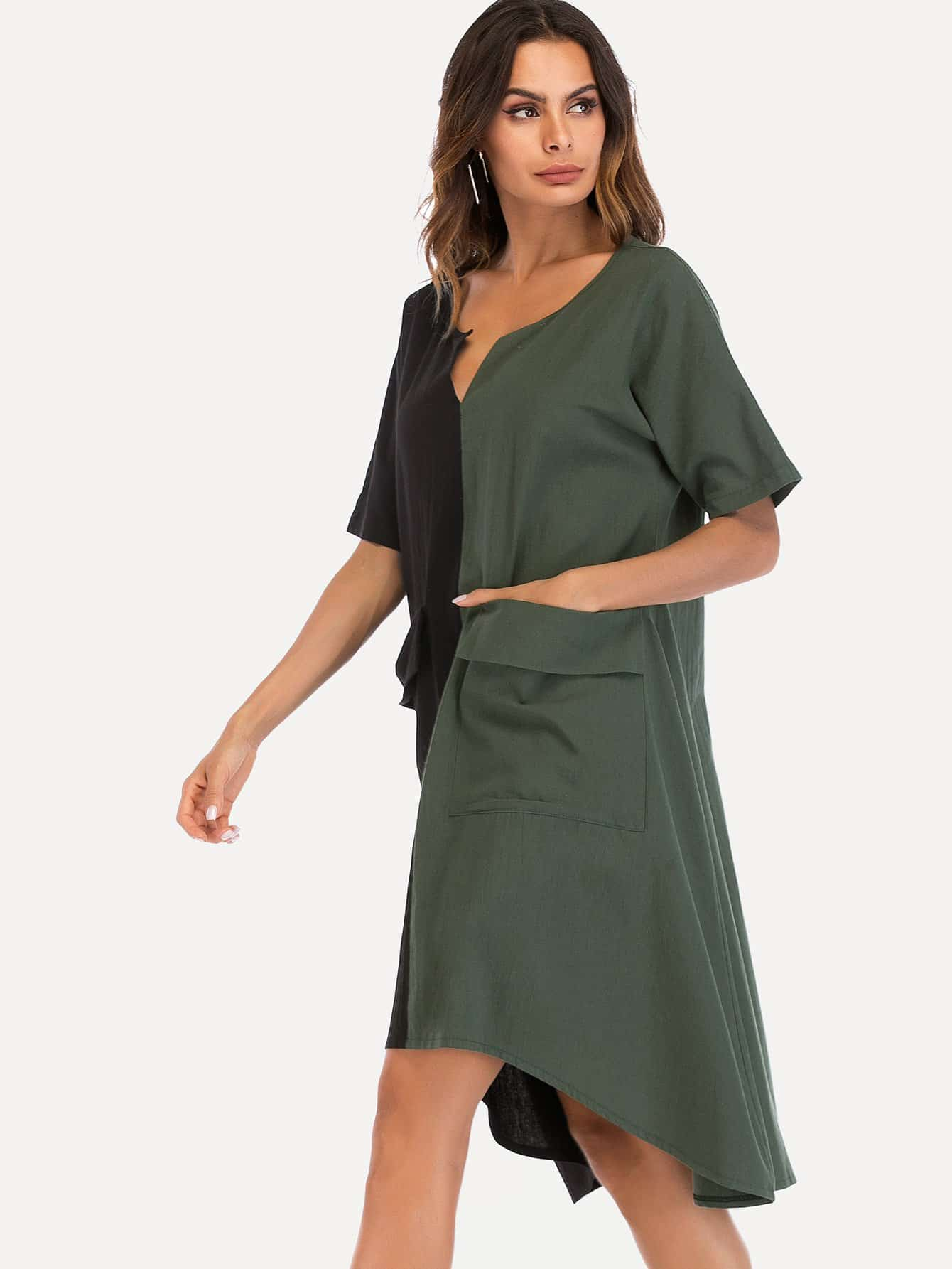 Two Tone Hanky Hem Dress high slit hanky hem metallic halter dress