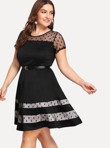 Sheer Mesh Panel Polka Dot Dress