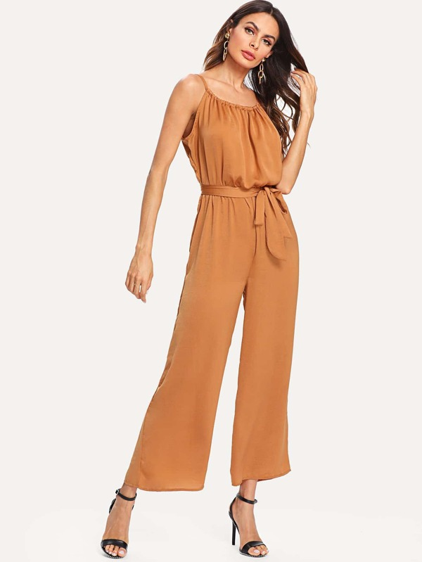 Belted Detail Cami Romper by Sheinside