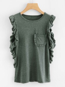 Pocket Front Frill Trim Tee