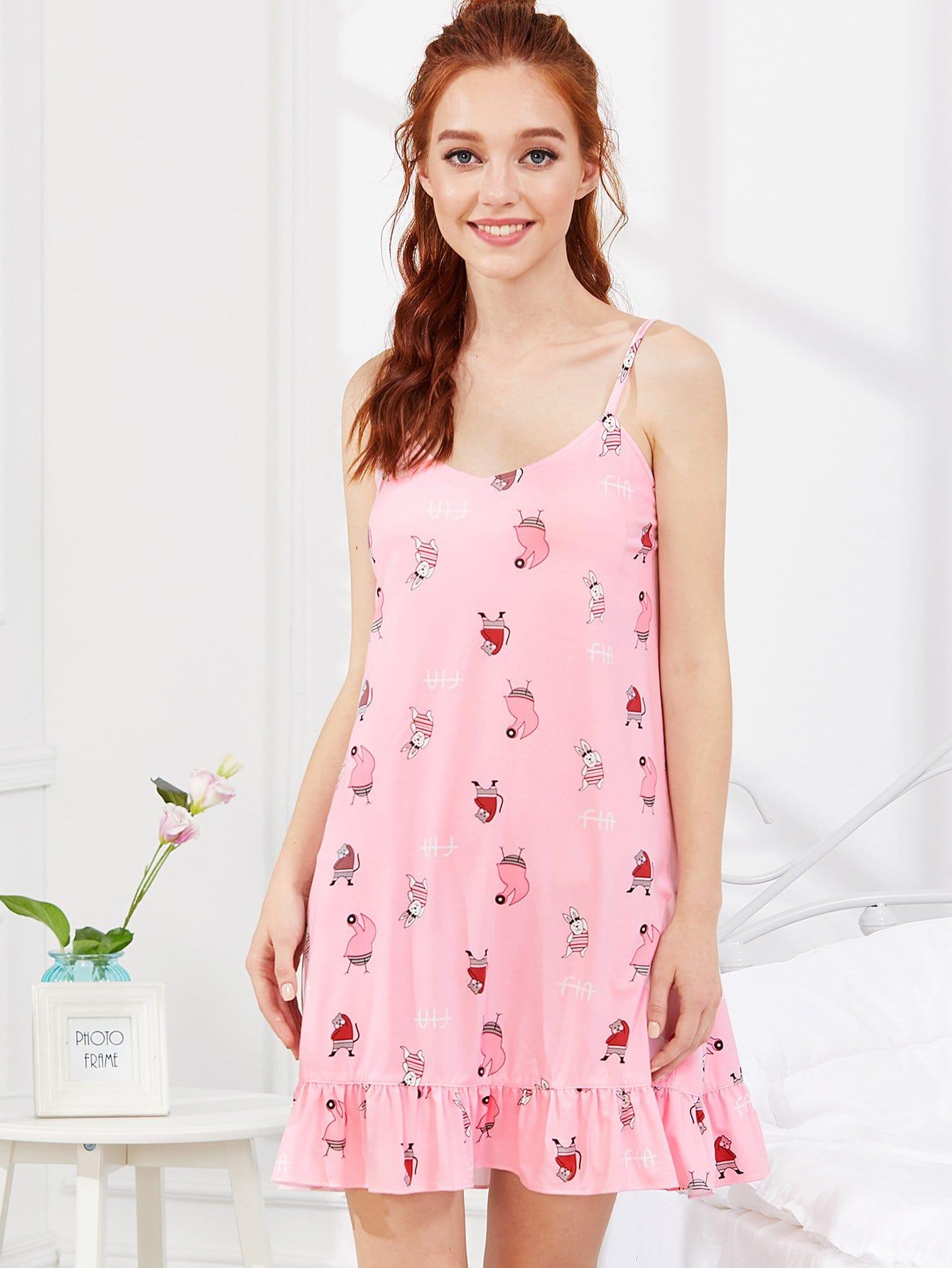 Cartoon Print Ruffle Hem Night Dress dog print ruffle hem night dress