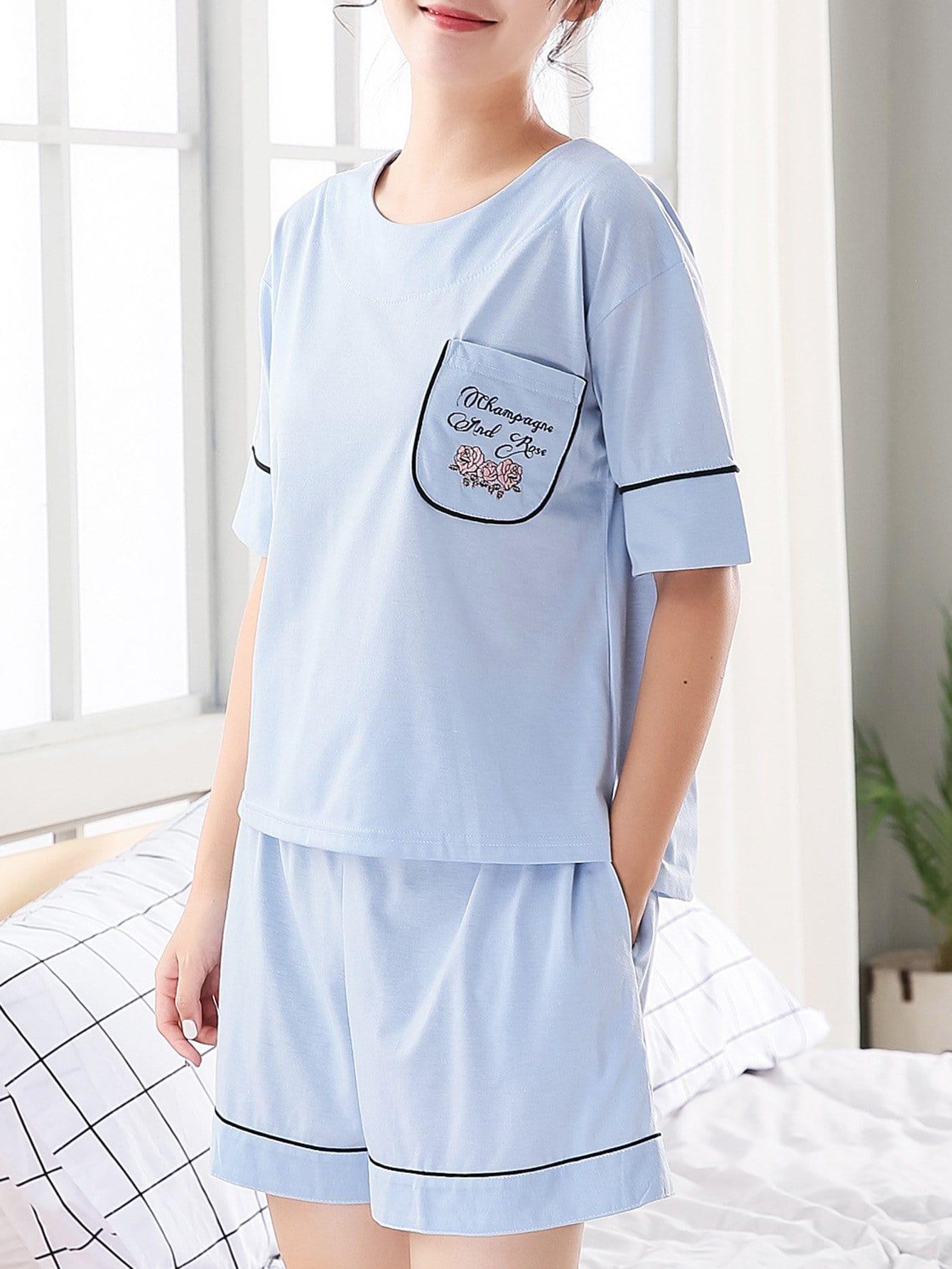 Купить Комплект пижамы в цветочек и с надписью, null, SheIn
