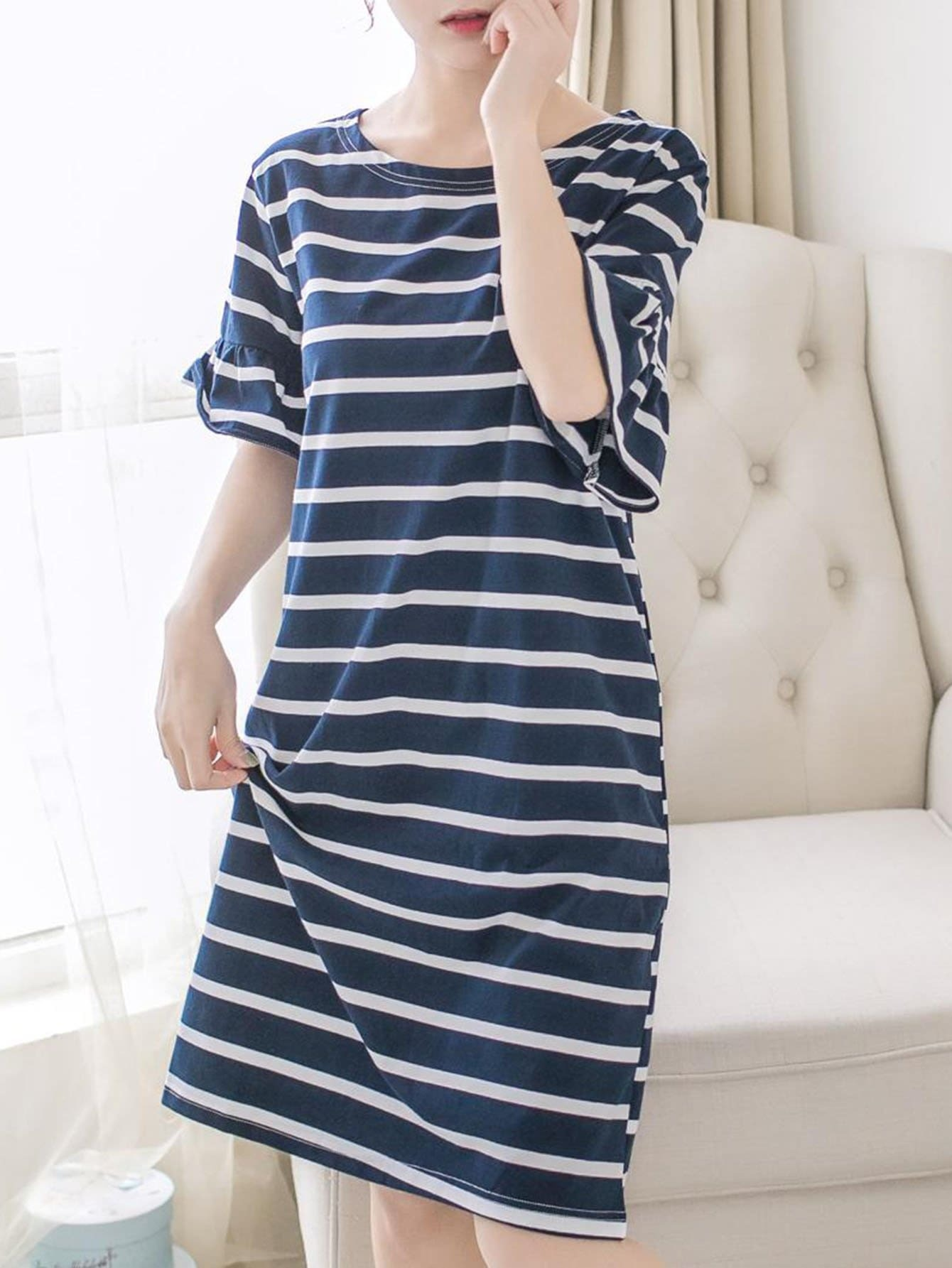 Penguin Patched Striped Night Dress