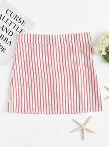 Zip Up Back Striped Skirt