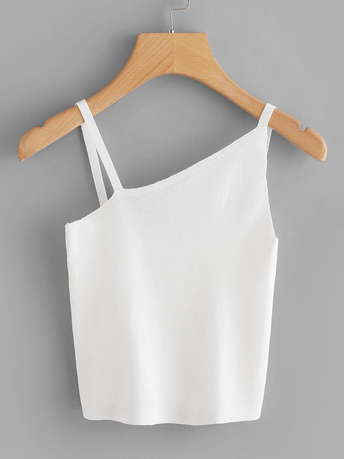 Asymmetrical Neck Knit Crop Top