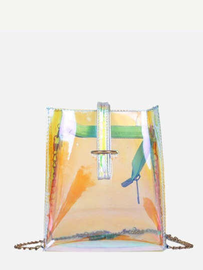 Iridescence Clear Chain Bag With Strap