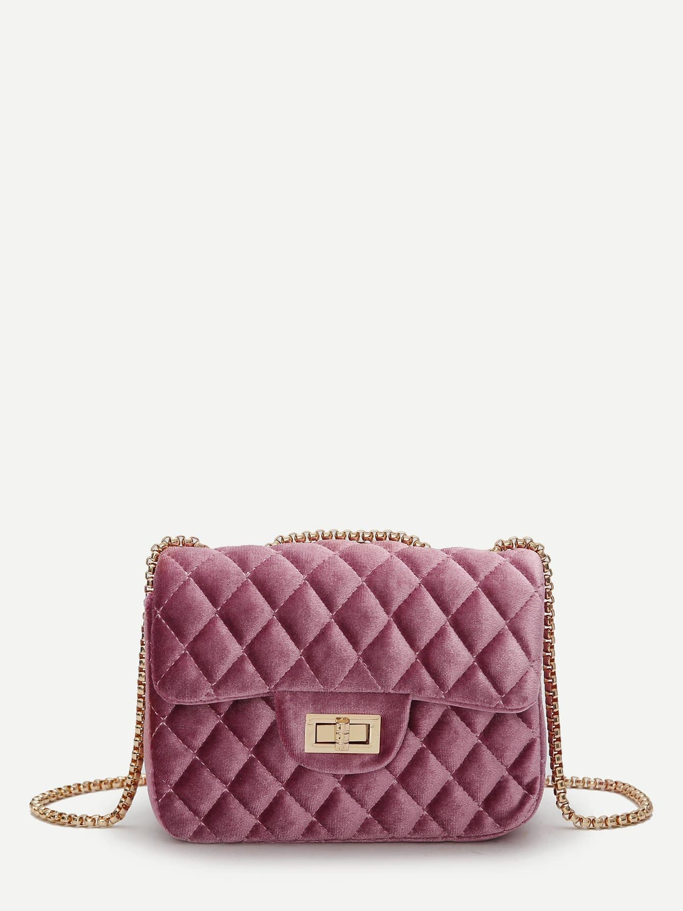 Quilted Twist Lock Chain Bag metal lock quilted crossbody chain bag