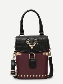 Antlers Detail Studded Shoulder Bag