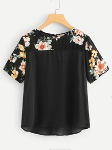 Flower Print Yoke Tunic Top