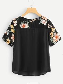 Flower Print Yoke Tunic Top