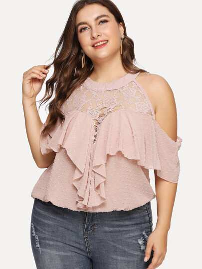 Lace Panel Ruffle Dot Blouse