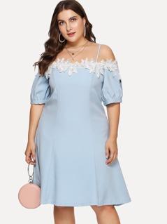 Lace Applique Cold Shoulder Dress