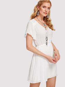 Lace Shoulder Half Placket Dress