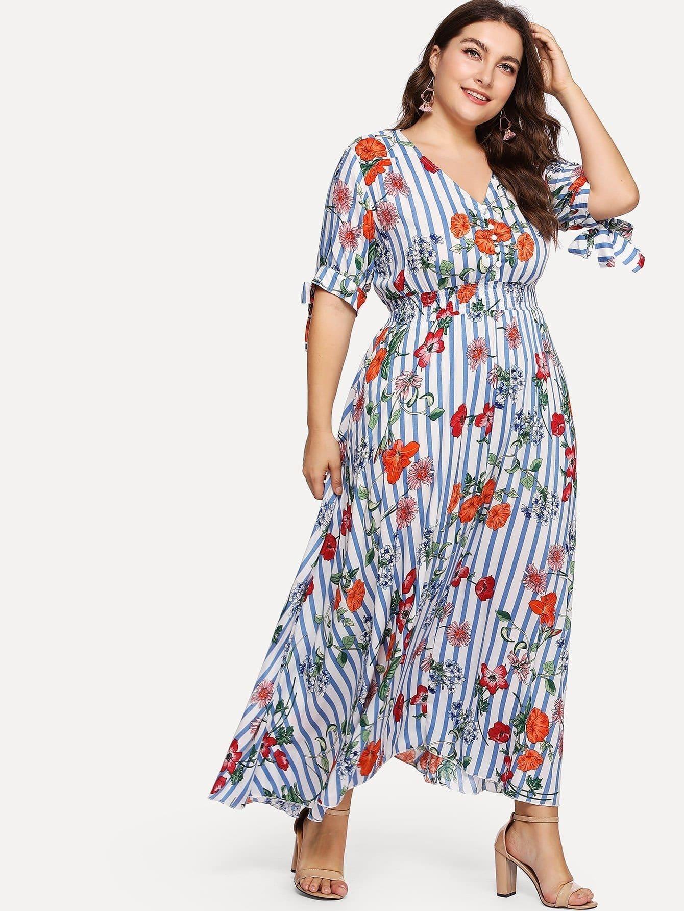 Button Front Shirred Waist Floral & Stripe Dress shirred waist zip back fit