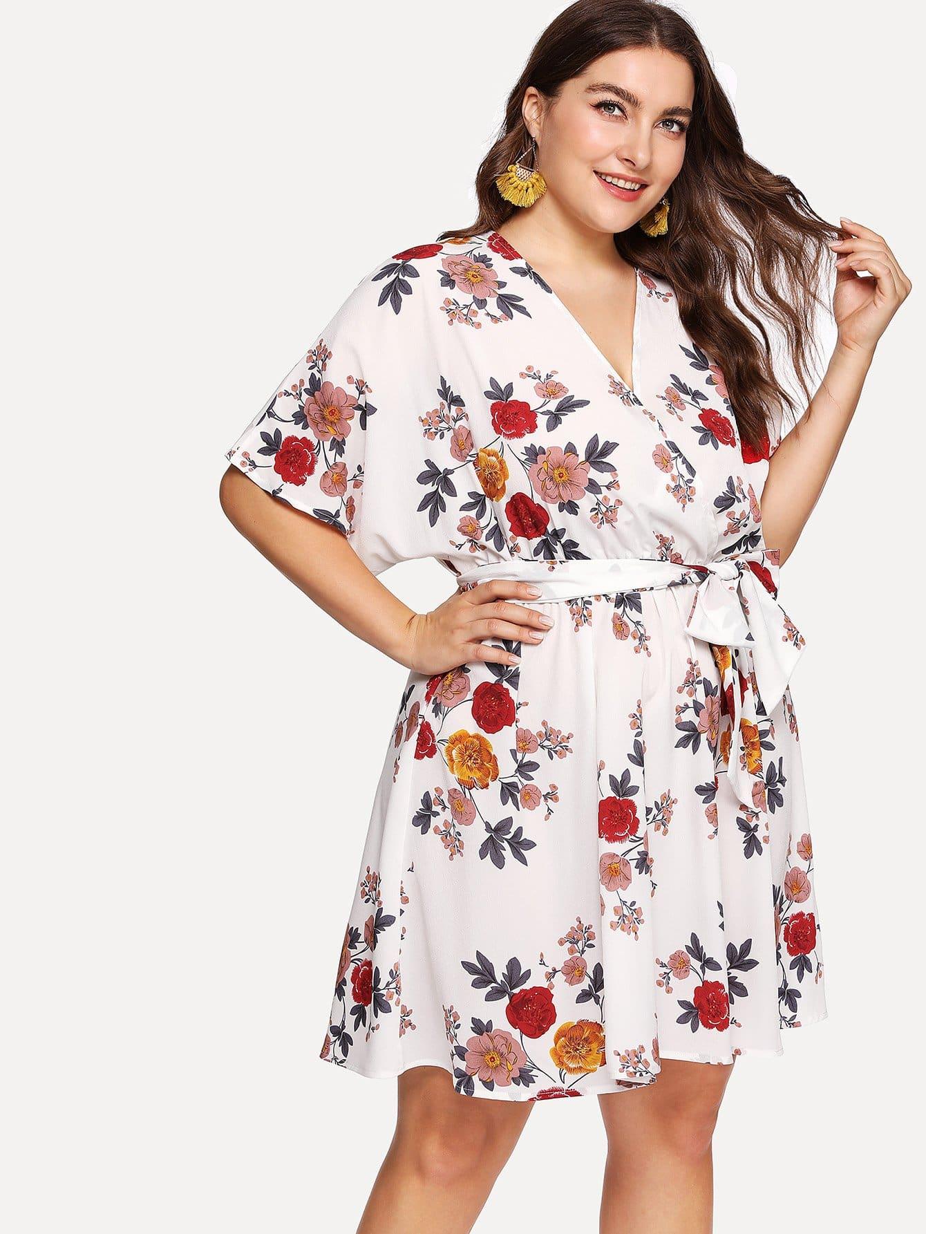 Overlap Front Elastic Waist Floral Dress overlap front m slit velvet dress