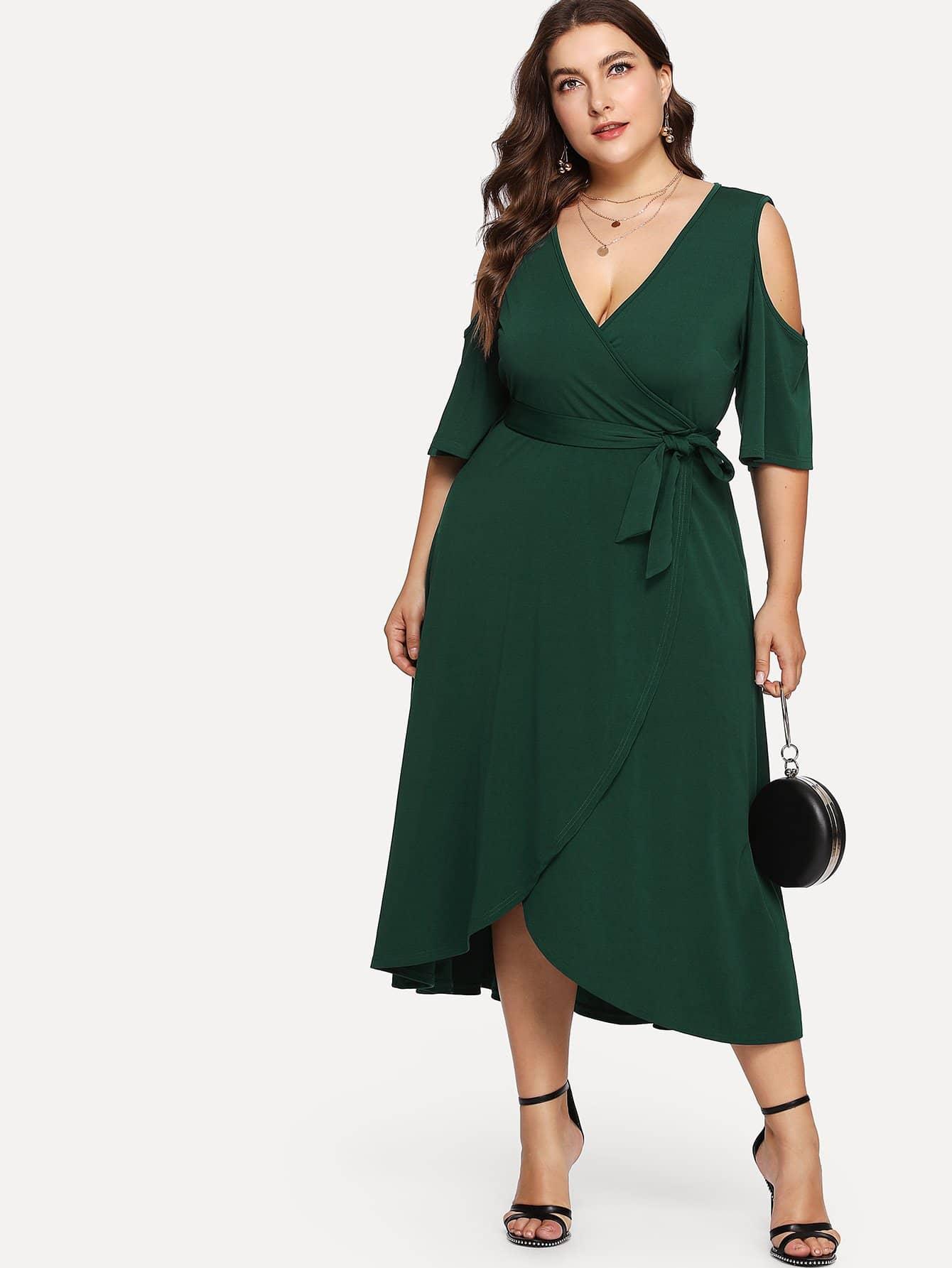 Cold Shoulder Belted Wrap Dress cold shoulder floral wrap dress