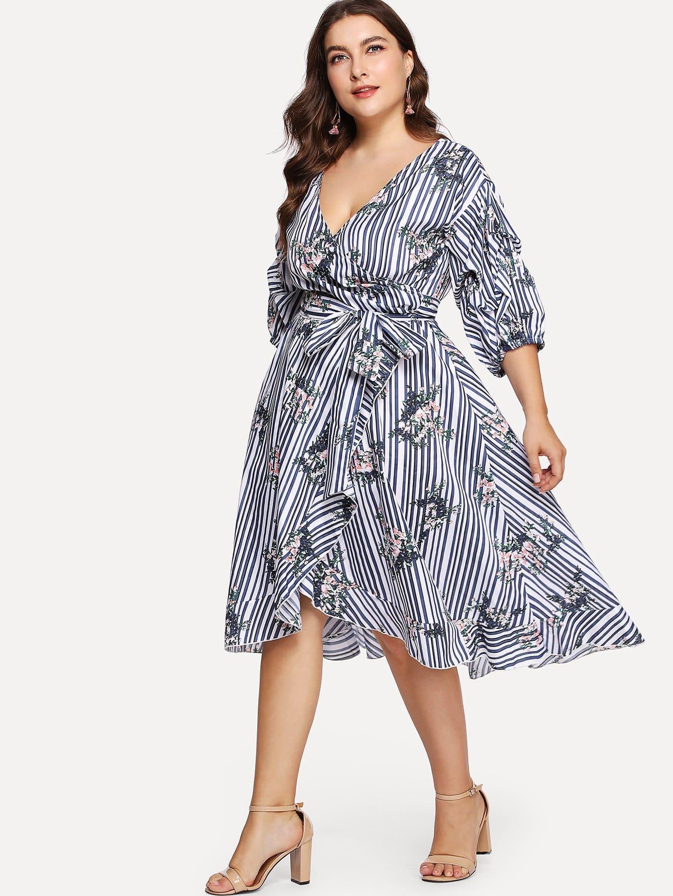 Купить Платье с запахом и собранными рукавами и принтом, Franziska, SheIn