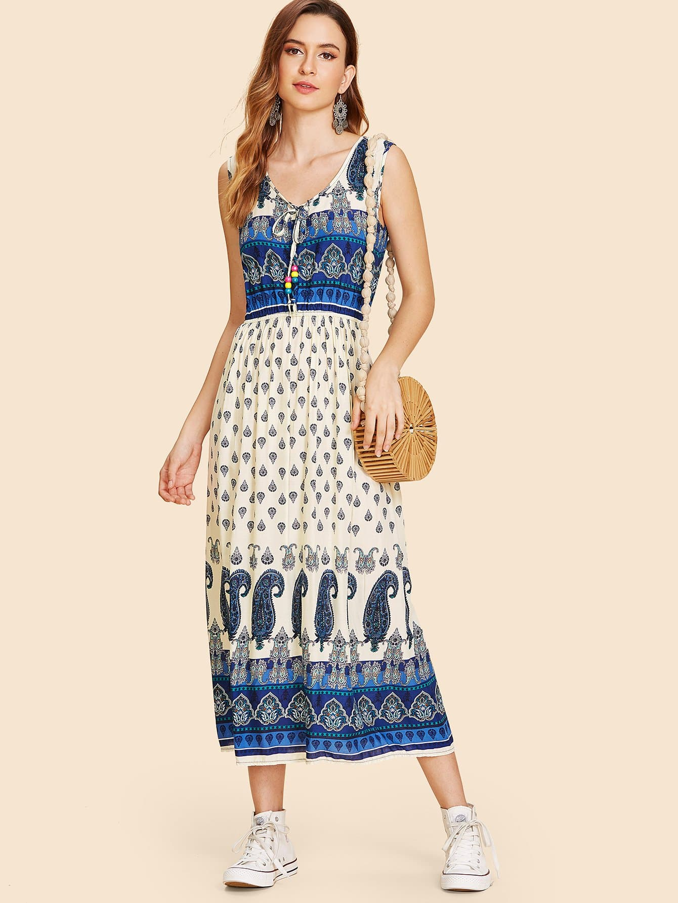 Tie Neck Geo Print Sleeveless Dress geo print tunic dress