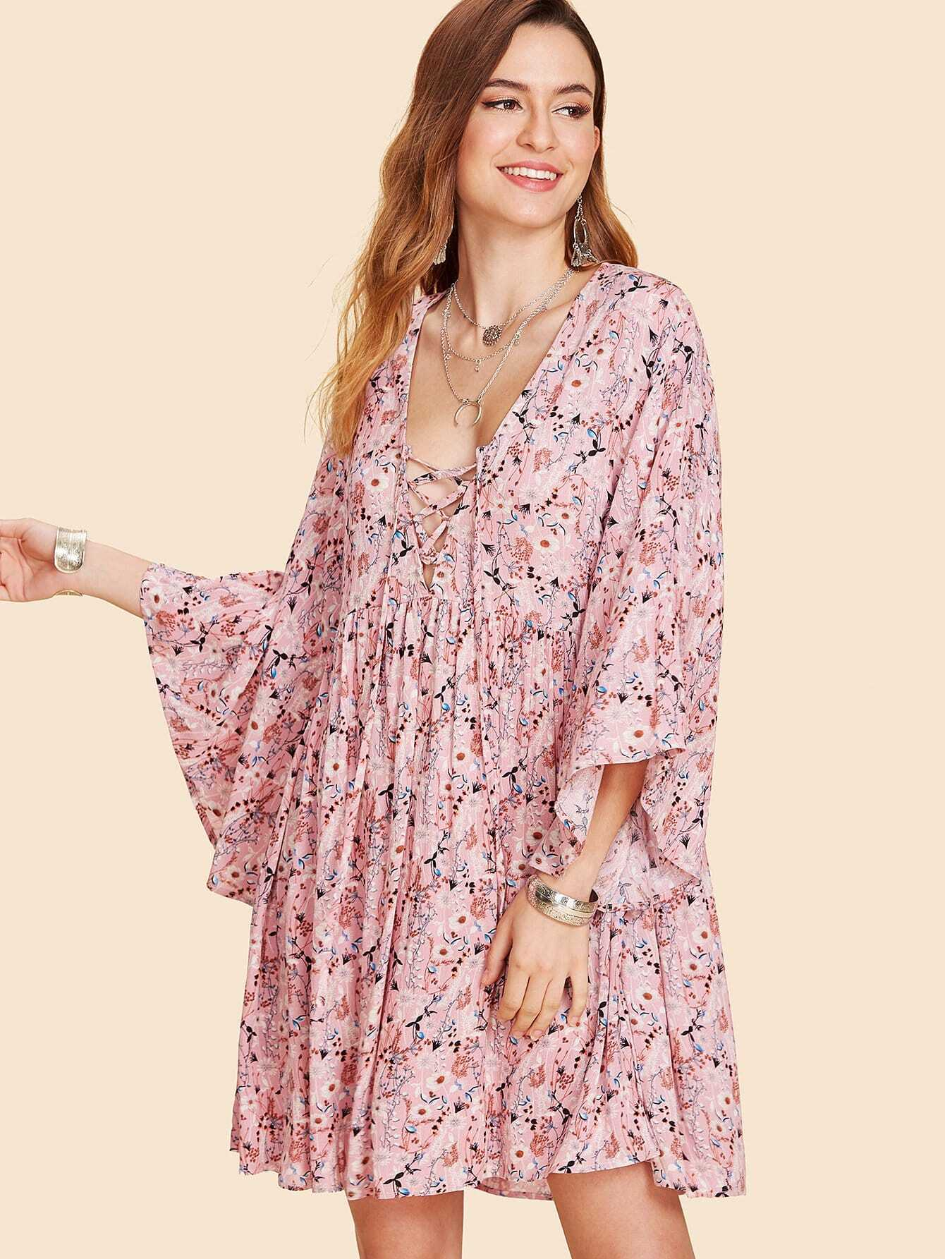 Bell Sleeve Lace Up Floral Dress bell sleeve floral lace kimono
