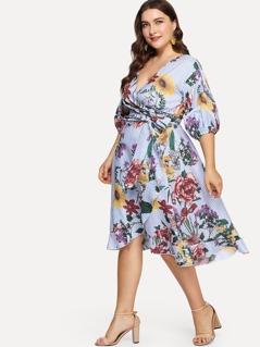 Plus Surplice Wrap Floral & Striped Dress