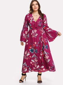 Surplice Neck Ruffle Trim Floral Dress