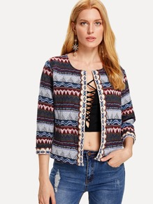 Embroidered Tape Detail Geo Print Coat