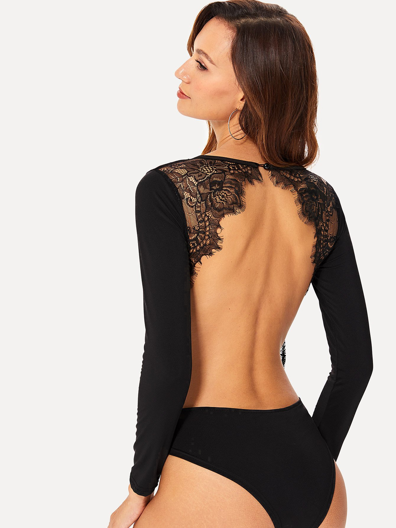 Lace Panel Backless Bodysuit embroidered lace panel bodysuit
