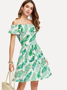 Off Shoulder Tropical Print Dress