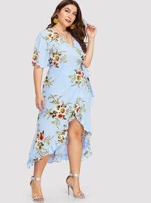 Knot Side Floral Print Dip Hem Dress