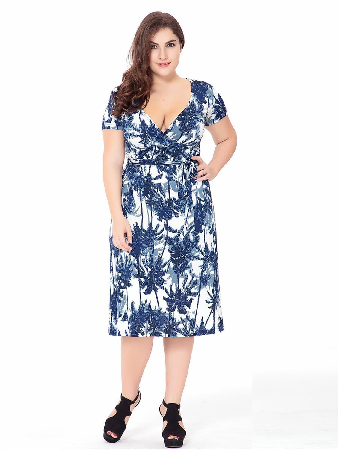 Plus Surplice Neckline Knot Waist Printed Dress