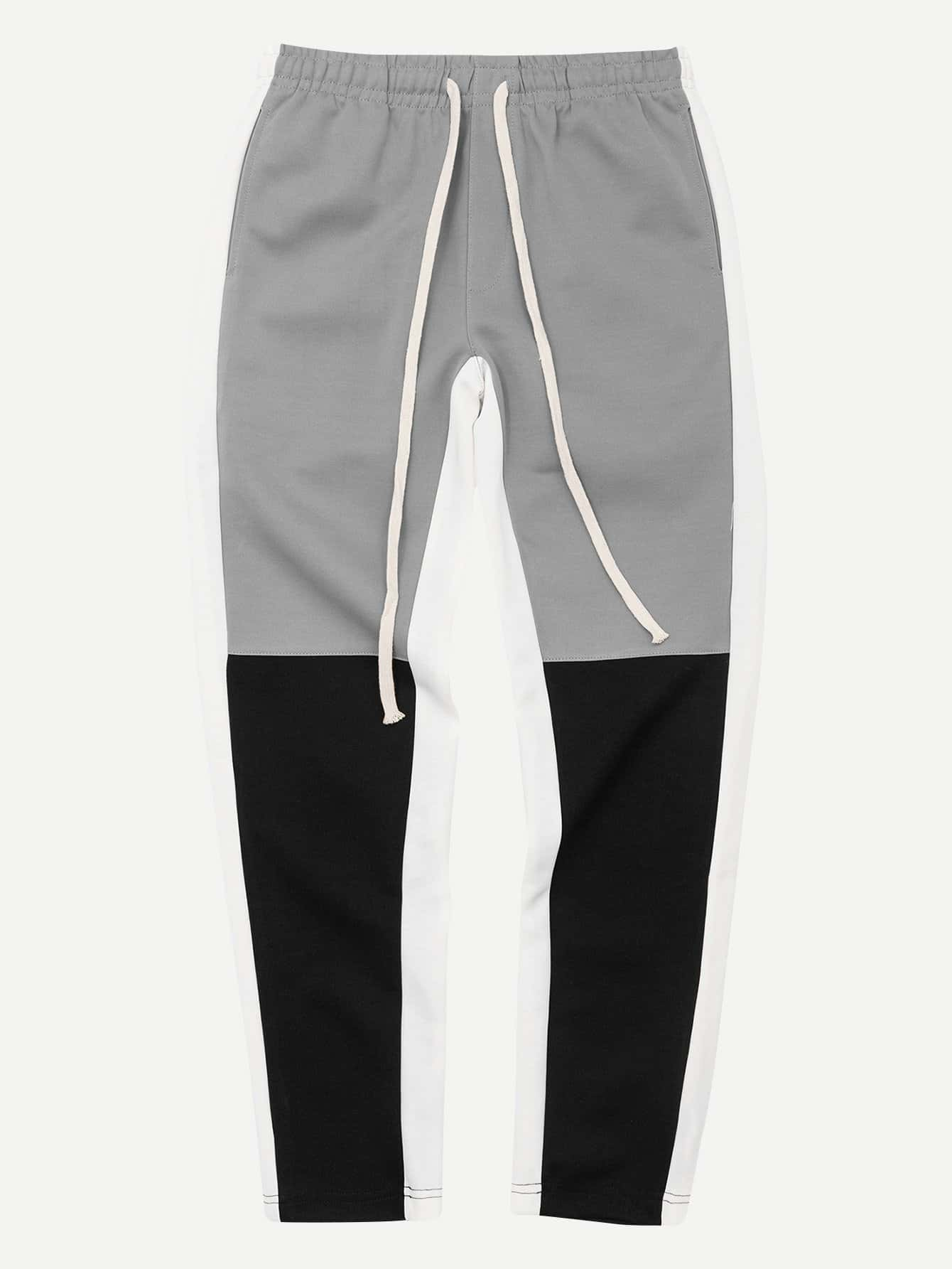Men Contrast Panel Tape Detail Drawstring Pants men tape detail blouse