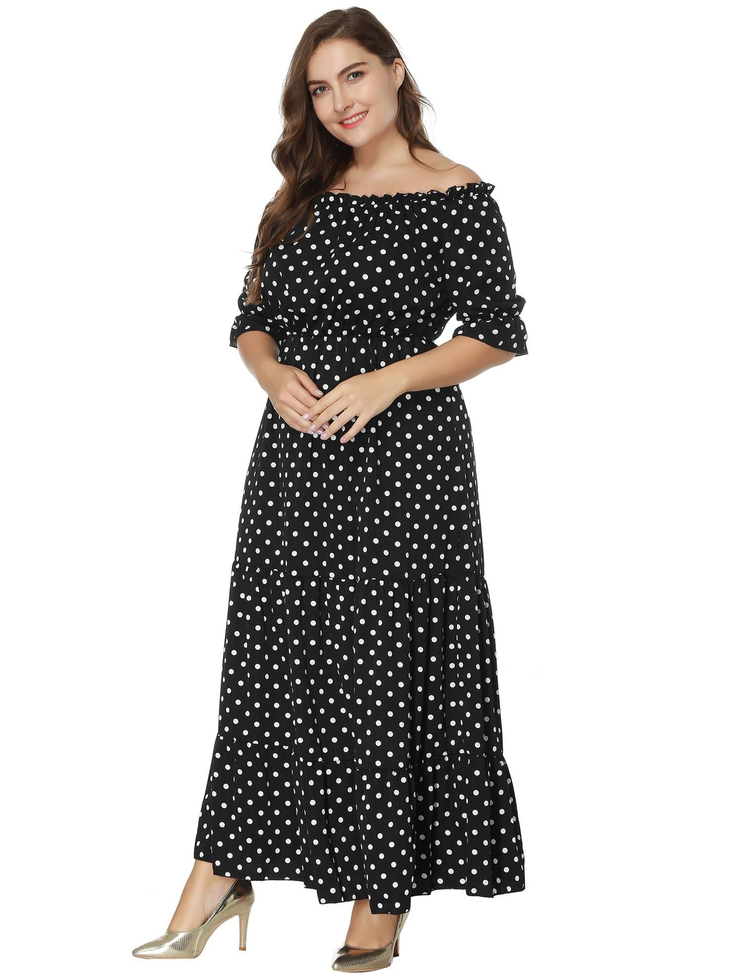 Off Shoulder Polka Dot Dress flounce one shoulder polka dot dress