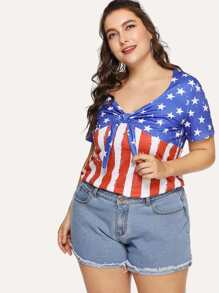 Knot Front American Flag Print Tee
