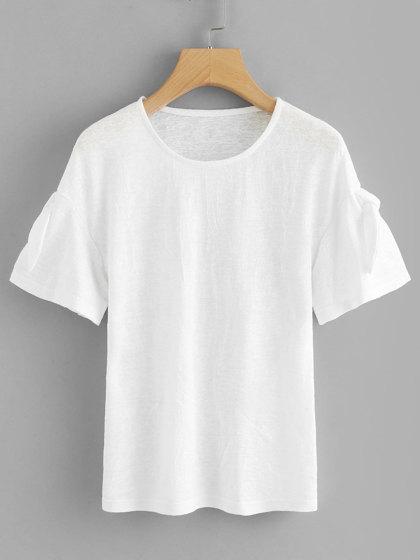 Round Neck Solid Tee floral patched round neck tee