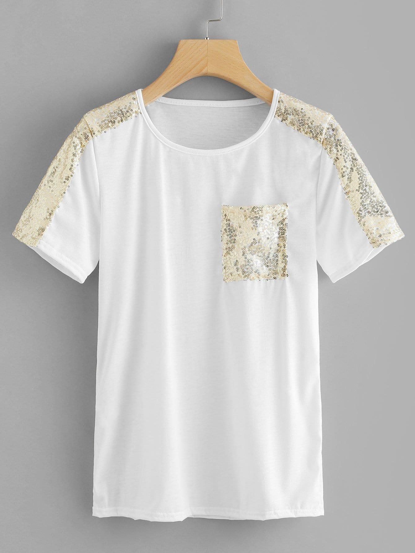 Contrast Sequin Tee contrast sequin mesh sleeve asymmetric tee