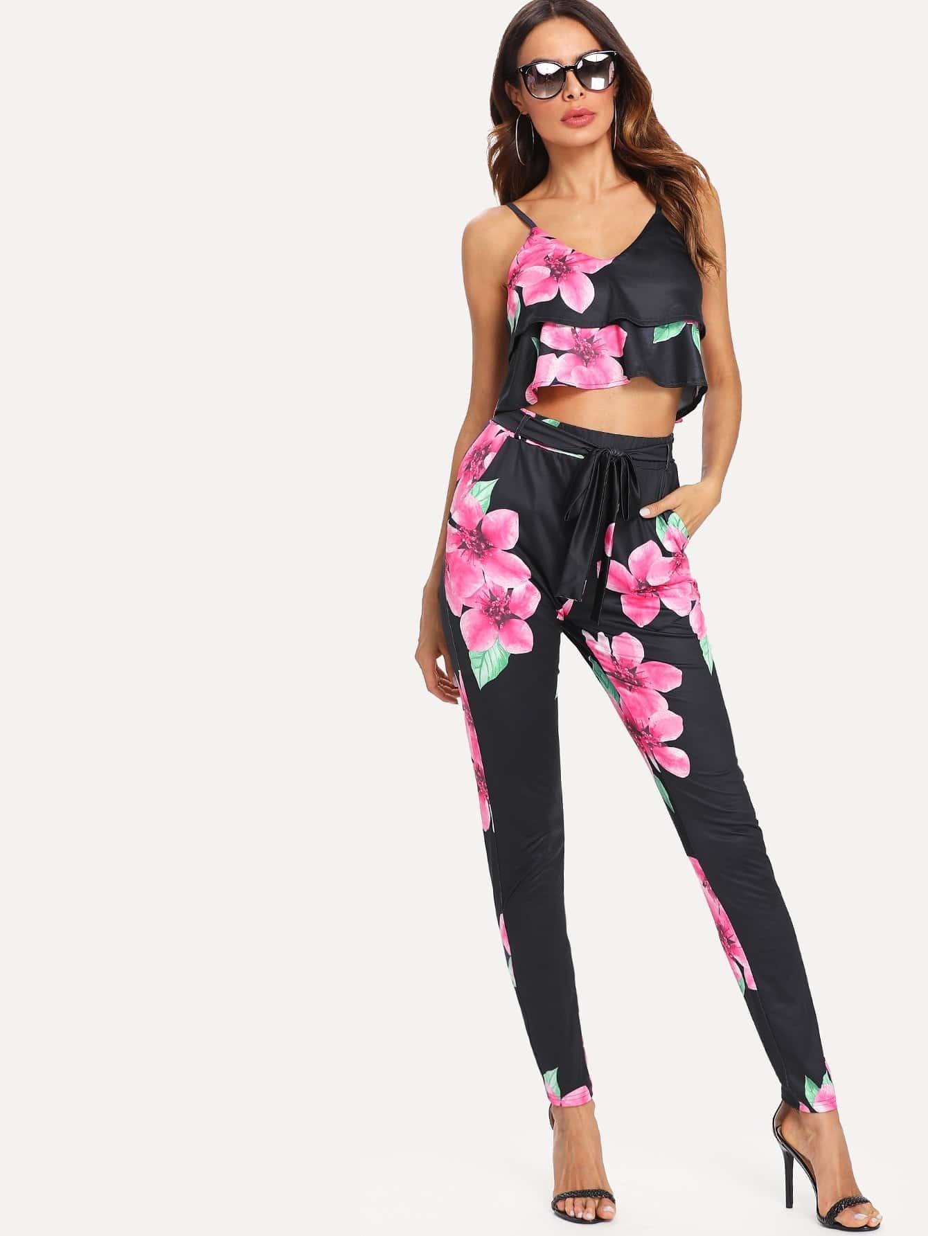 Floral Print Crop Cami Top With Pants floral print crop cami top with shorts