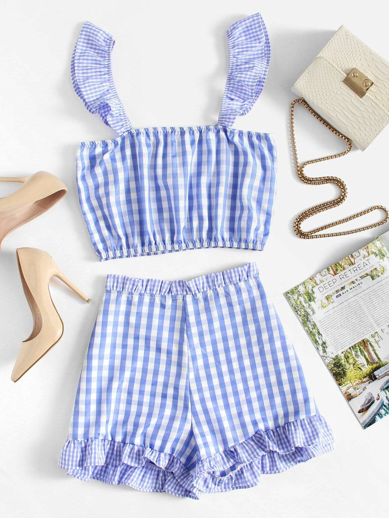 Ruffle Trim Gingham Crop Top With Shorts ruffle trim gingham overall