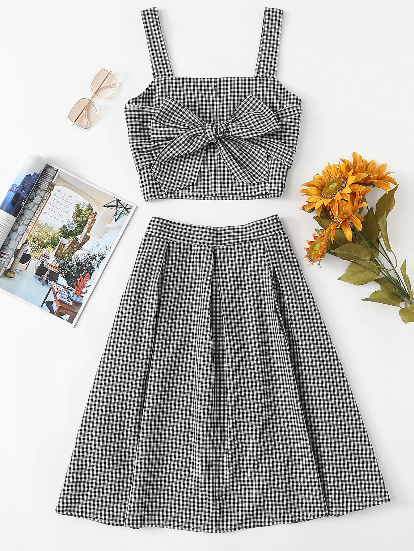 Gingham Bow Tie Crop Cami Top With Skirt pyle h men of iron